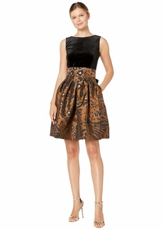 Tahari Sleeveless Velvet and Animal Print Jacquard Cocktail Dress