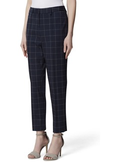 Tahari Slim Pintuck Windowpane Ankle Pants