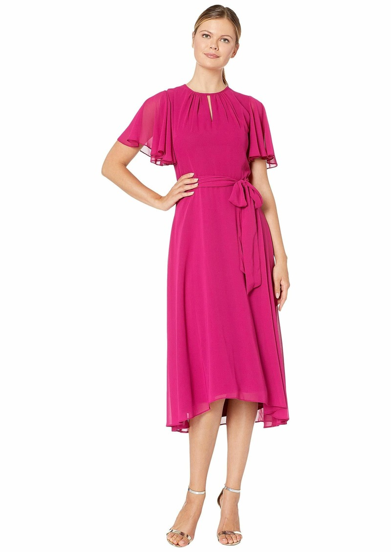 Tahari Solid Chiffon Midi Dress w/ Flutter Sleeve and Self Side Tie