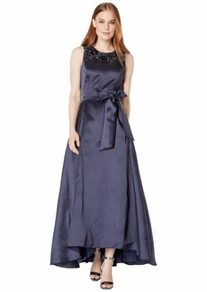 Tahari Solid Mikado Ball Gown with Embellished Neckline and Side Tie Self Sash