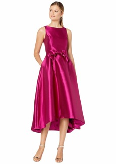 Tahari Solid Mikado Bow Front Midi Dress