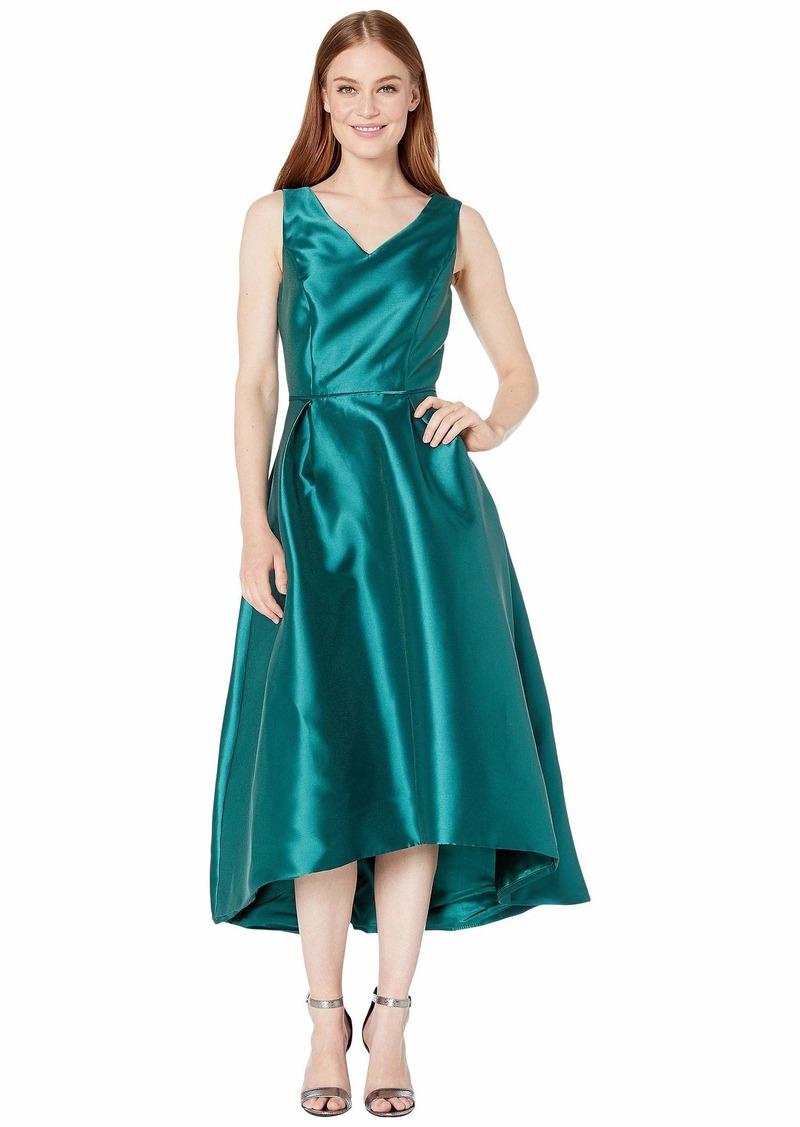 Tahari Solid Mikado V-Neck Midi Dress