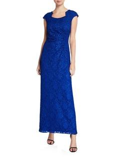 Tahari Square-Neck Cap-Sleeve Stretch Lace Column Gown