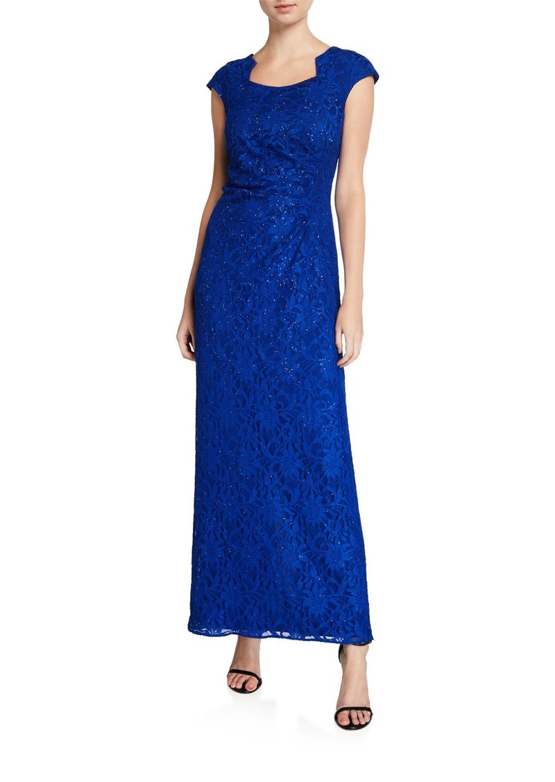Tahari Square-Neck Cap-Sleeve Stretch Lace Column Gown