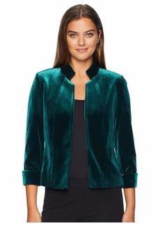 Tahari Stand Collar Open Velvet Jacket
