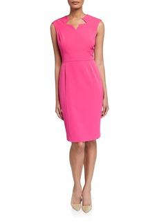 Tahari Star-Neck Crepe Sheath Dress