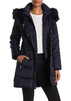 Tahari Stefani Faux Fur Trim Down Puffer Jacket