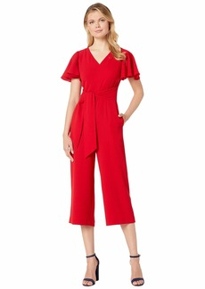Tahari Stretch Crepe Cropped Leg Jumpsuit with Flutter Sleeve