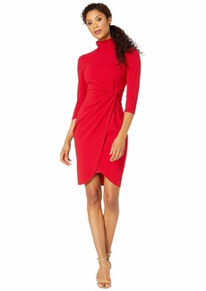 Tahari Stretch Crepe Mock Neck Dress with Side Wrap and Cinched Sleeve Detail