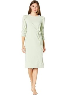 Tahari Stretch Crepe Side Wrap Dress with Puff Sleeve Detail