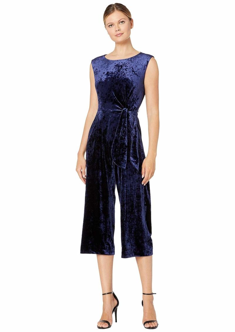 Tahari Stretch Crinkle Velvet Cropped Side Tie Jumpsuit