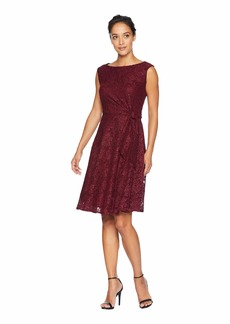 Tahari Stretch Lace Side Tie Fit & Flare Dress
