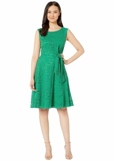 Tahari Stretch Lace Side Tie Fit and Flare Dress