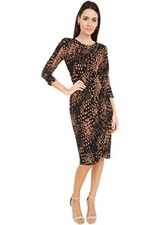 Tahari Stretch Printed Ikat Dress with Side Knot Detail