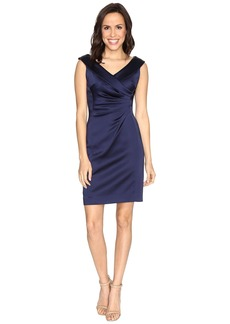 Tahari Stretch Satin Sheath Dress with Side Ruche