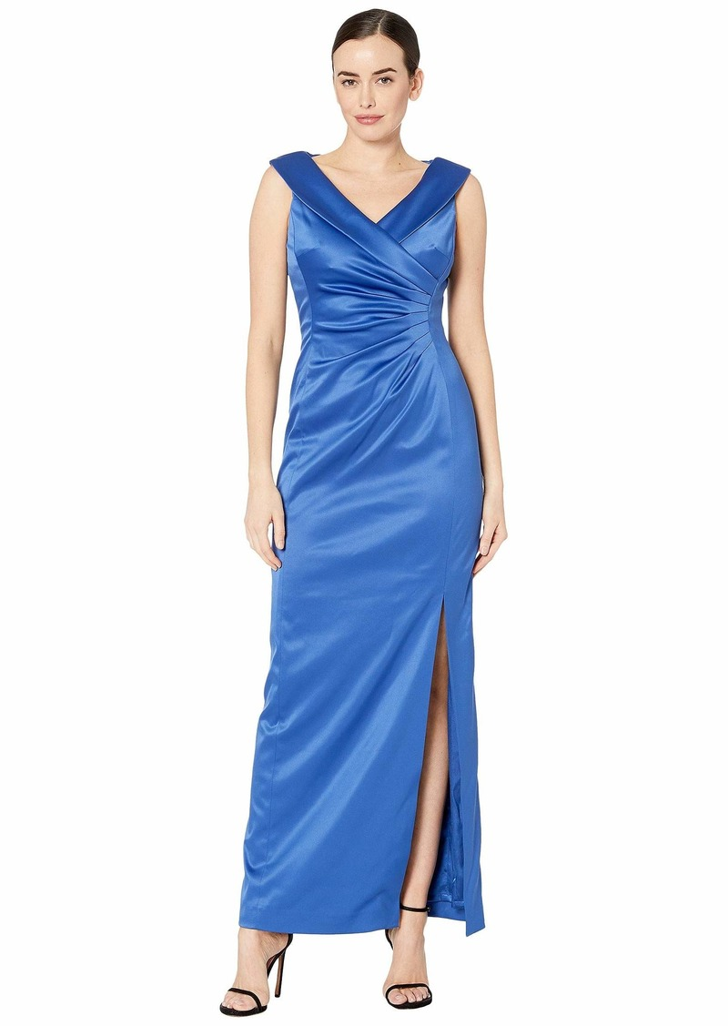Tahari Stretch Satin Side Draped Long Gown