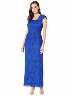 Tahari Stretch Sequin Lace Cap Sleeve Gown with Horseshoe Neckline