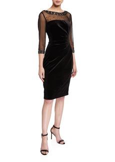 Tahari Stretch Velvet Cocktail Dress