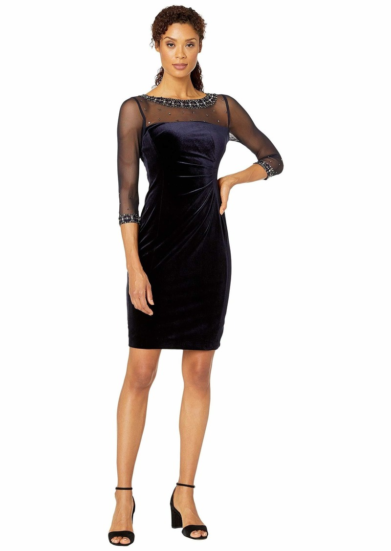 Tahari Stretch Velvet Cocktail Dress with Illusion Mesh and Beaded Sleeves and Neckline