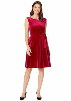 Tahari Stretch Velvet Side Tie Dress