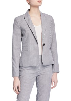 Tahari Striped Double Welt Pocket Suit Jacket