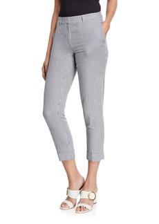 Tahari Striped Seersucker Ankle-Cuff Pants