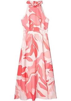 Tahari Sunburst Charmeuse Floral Maxi Halter Dress