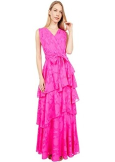 Tahari Surplus Clipped Chiffon Floral Tiered Gown