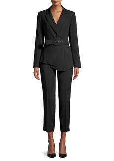 Tahari 2-Piece Belted Asymmetrical Jacket & Flat-Front Pant Suit