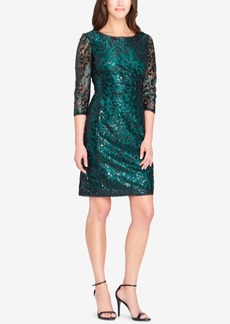 Tahari 3/4-Sleeve Sequined Lace Dress