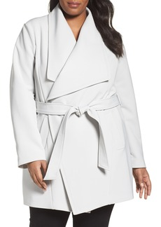 Tahari Abbey Draped Collar Wrap Coat (Plus Size)