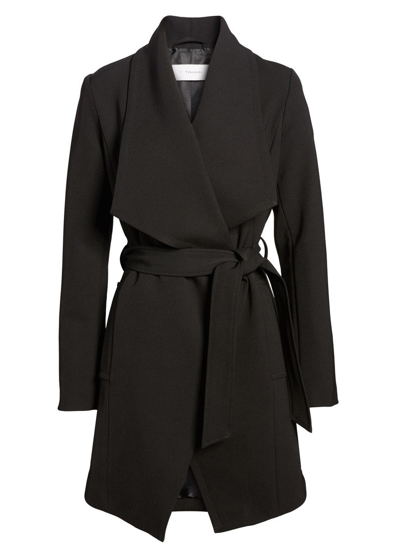 Tahari Abbey Draped Collar Wrap Coat