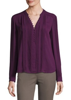 Tahari ASL Aida Pleat-Front Long-Sleeve Top