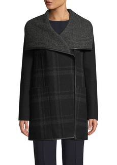 Tahari Amelia Plaid Double-Face Coat