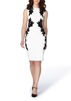 Tahari Appliqué Crepe Sheath Dress (Regular & Petite)