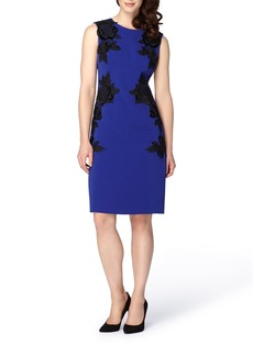 Tahari Appliqué Crepe Sheath Dress (Regular & Petite)