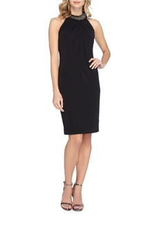 TAHARI ARTHUR S. LEVINE Beaded Halterneck Sheath Dress