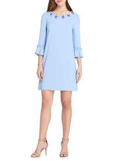 Tahari Arthur S. Levine Beaded Ruffle-Sleeve Shift Dress