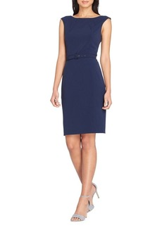 Tahari Arthur S. Levine Belted Cap-Sleeve Sheath Dress