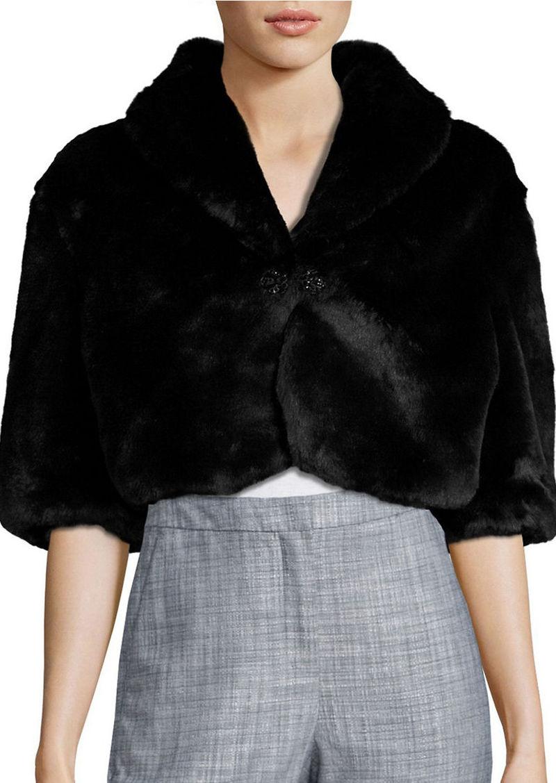 TAHARI ARTHUR S. LEVINE Brooch Detailed Faux Fur Jacket