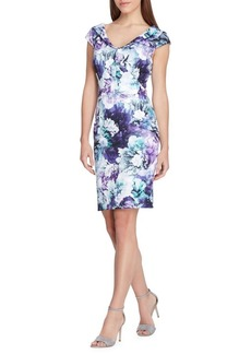 Tahari Arthur S. Levine Cap-Sleeve Floral Scuba Sheath Dress