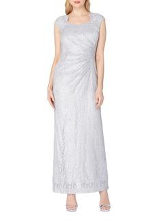 Tahari Arthur S. Levine Cap Sleeve Lace Column Gown