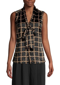 Tahari Arthur S. Levine Chain-Print Tied Sleeveless Top