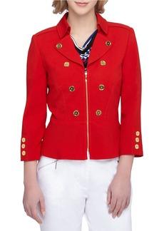 TAHARI ARTHUR S. LEVINE Coachmen Collar Double Breasted Peplum Jacket