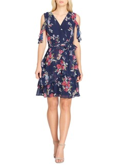 Tahari Arthur S. Levine Cold Shoulder Chiffon Wrap Dress