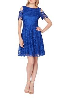 Tahari Arthur S. Levine Cold-Shoulder Lace Dress