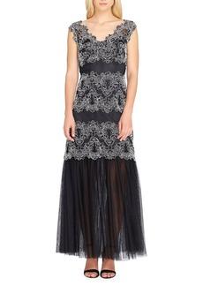 Tahari Arthur S. Levine Contrast Mesh & Lace Gown