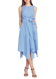 Tahari Arthur S. Levine Cotton Stripe Midi Dress