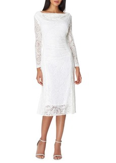 Tahari Arthur S. Levine Cowlneck Foil Lace Dress