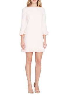 Tahari Arthur S. Levine Crepe Ruffle-Trim Shift Dress